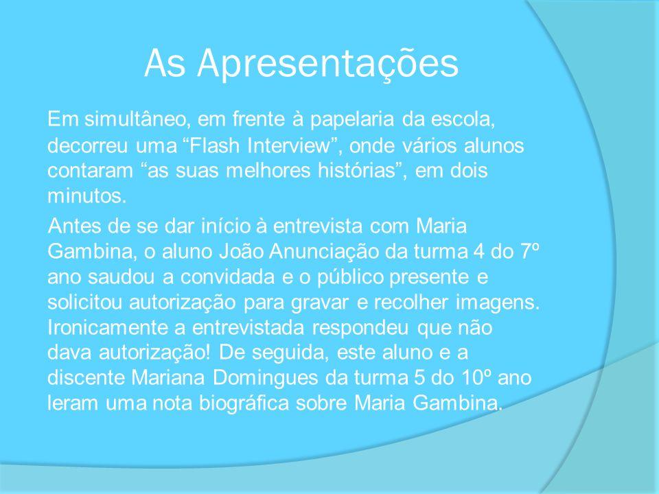 Durante a Entrevista Feita a apresentação de todos os moderadores da entrevista pela aluna Joana Silva da turma 5 do 10º ano, foram colocadas à convidada 53 perguntas relacionadas com a sua vida pessoal e profissional.