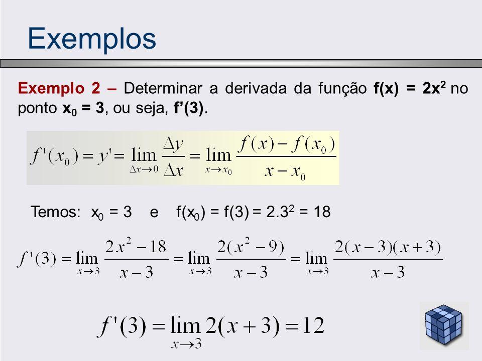 Exemplos Exemplo 2 – Determinar a derivada da função f(x) = 2x 2 no ponto x 0 = 3, ou seja, f(3). Temos: x 0 = 3 e f(x 0 ) = f(3) = 2.3 2 = 18