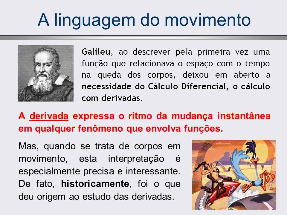 A linguagem do movimento A derivada expressa o ritmo da mudança instantânea em qualquer fenômeno que envolva funções. derivadas Galileu, ao descrever