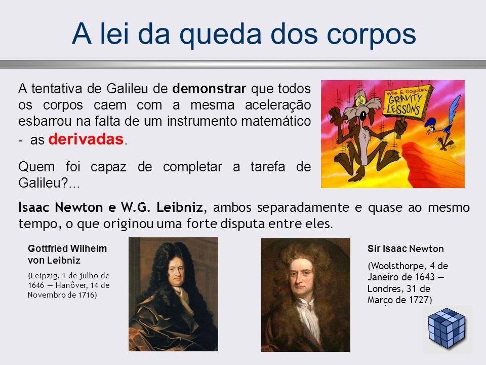 A lei da queda dos corpos A tentativa de Galileu de demonstrar que todos os corpos caem com a mesma aceleração esbarrou na falta de um instrumento matemático - as derivadas.