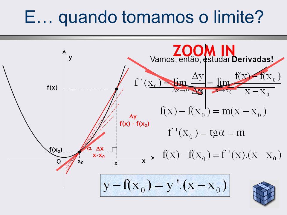 E… quando tomamos o limite? O ZOOM IN x-x 0 x 0 f(x) x f(x 0 ) y f(x) - f(x 0 ) x O y Vamos, então, estudar Derivadas! x