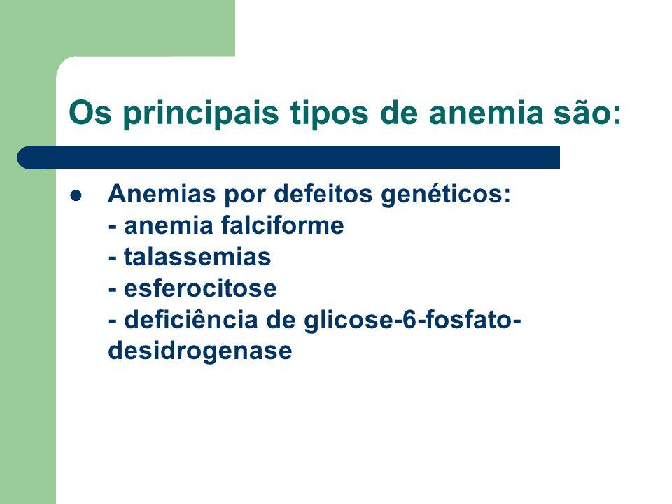 Os principais tipos de anemia são: Anemias por defeitos genéticos: - anemia falciforme - talassemias - esferocitose - deficiência de glicose-6-fosfato- desidrogenase