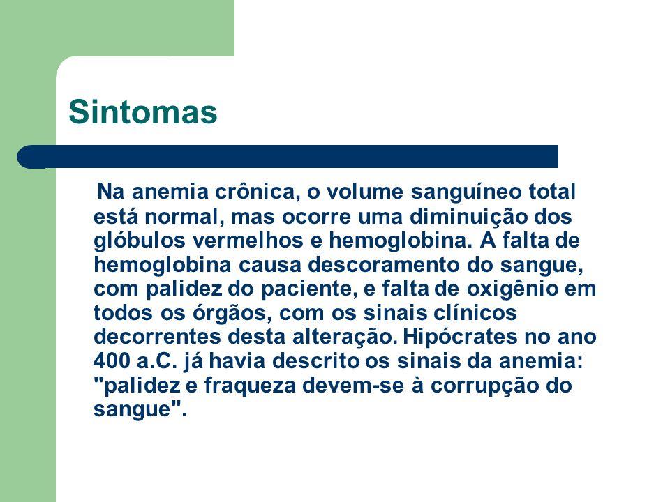 Sintomas Na anemia crônica, o volume sanguíneo total está normal, mas ocorre uma diminuição dos glóbulos vermelhos e hemoglobina.