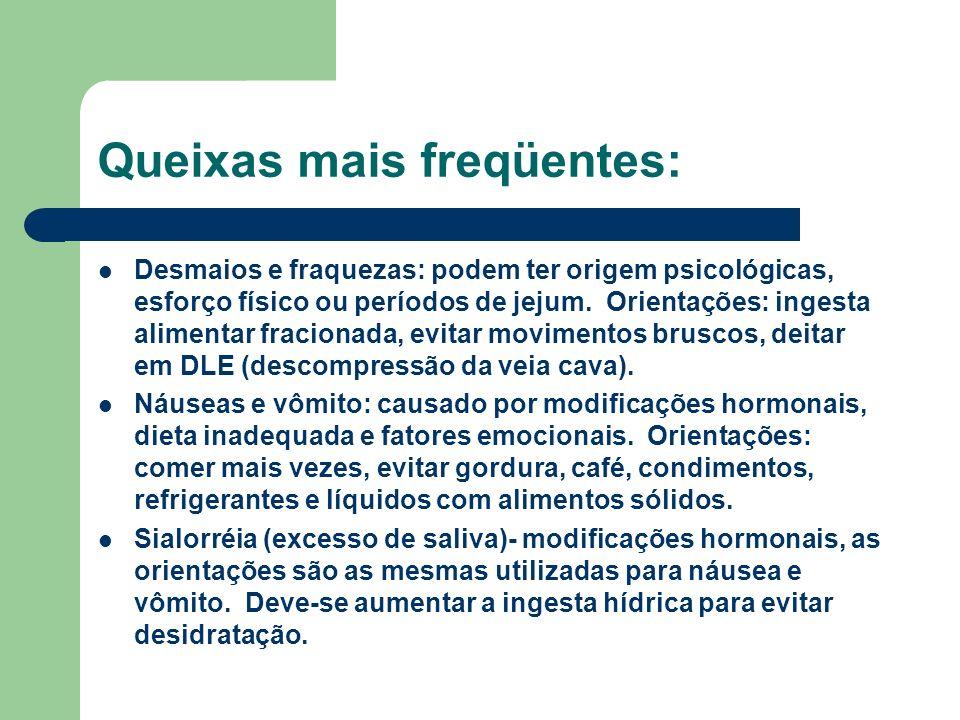 Queixas mais freqüentes: Desmaios e fraquezas: podem ter origem psicológicas, esforço físico ou períodos de jejum.