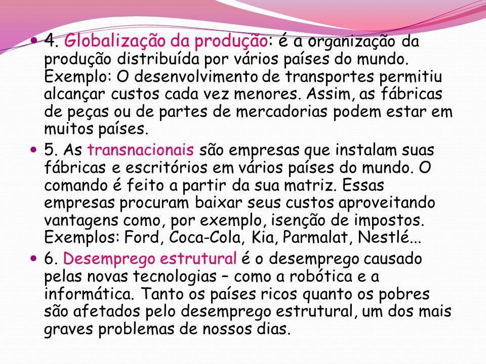 4.Globalização da produção: é a o rganização da produção distribuída por vários países do mundo.