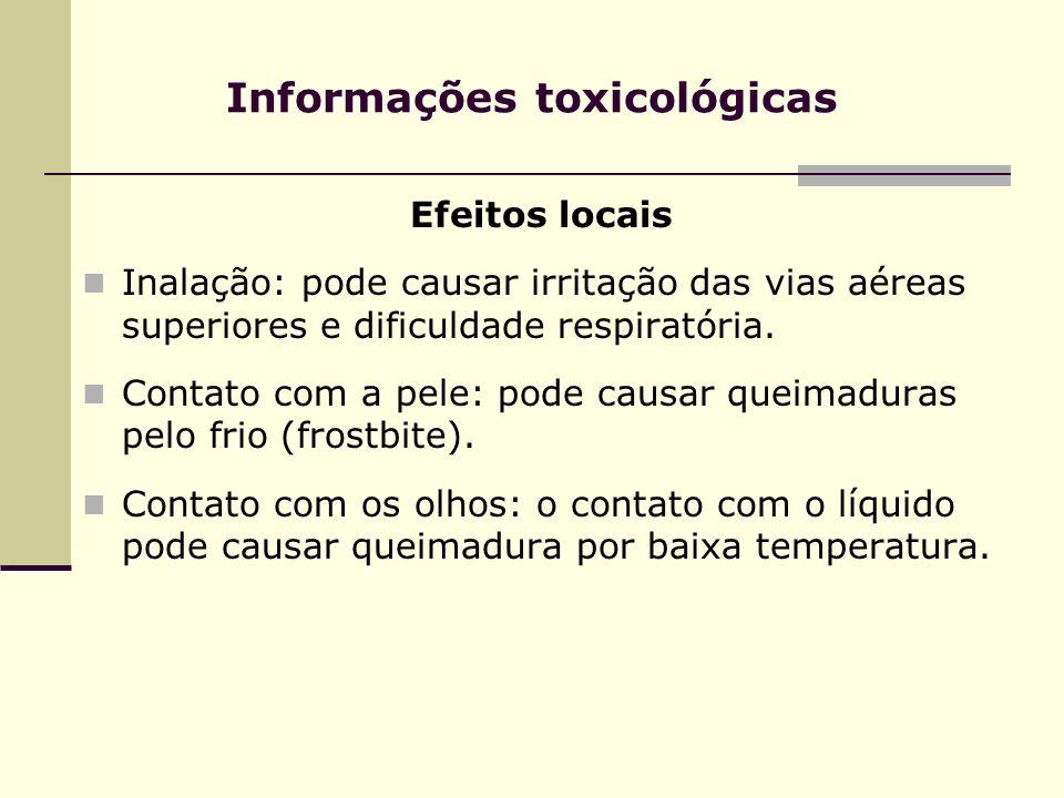 Informações toxicológicas Efeitos locais Inalação: pode causar irritação das vias aéreas superiores e dificuldade respiratória. Contato com a pele: po