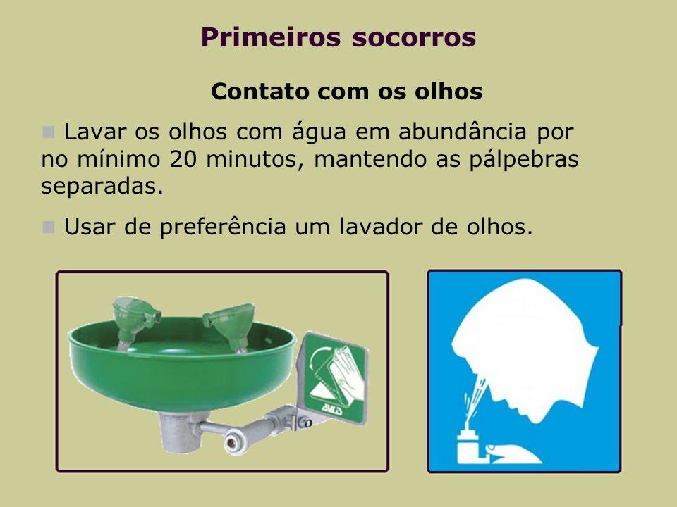 Primeiros socorros Contato com os olhos Lavar os olhos com água em abundância por no mínimo 20 minutos, mantendo as pálpebras separadas. Usar de prefe
