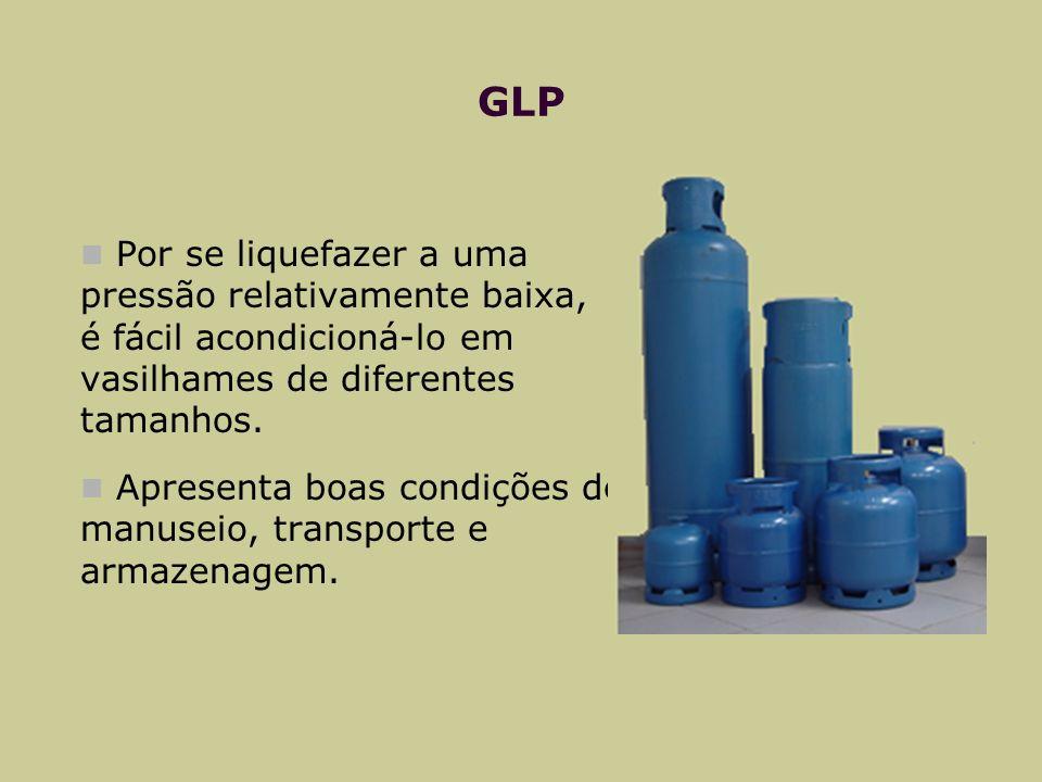 GLP Por se liquefazer a uma pressão relativamente baixa, é fácil acondicioná-lo em vasilhames de diferentes tamanhos. Apresenta boas condições de manu
