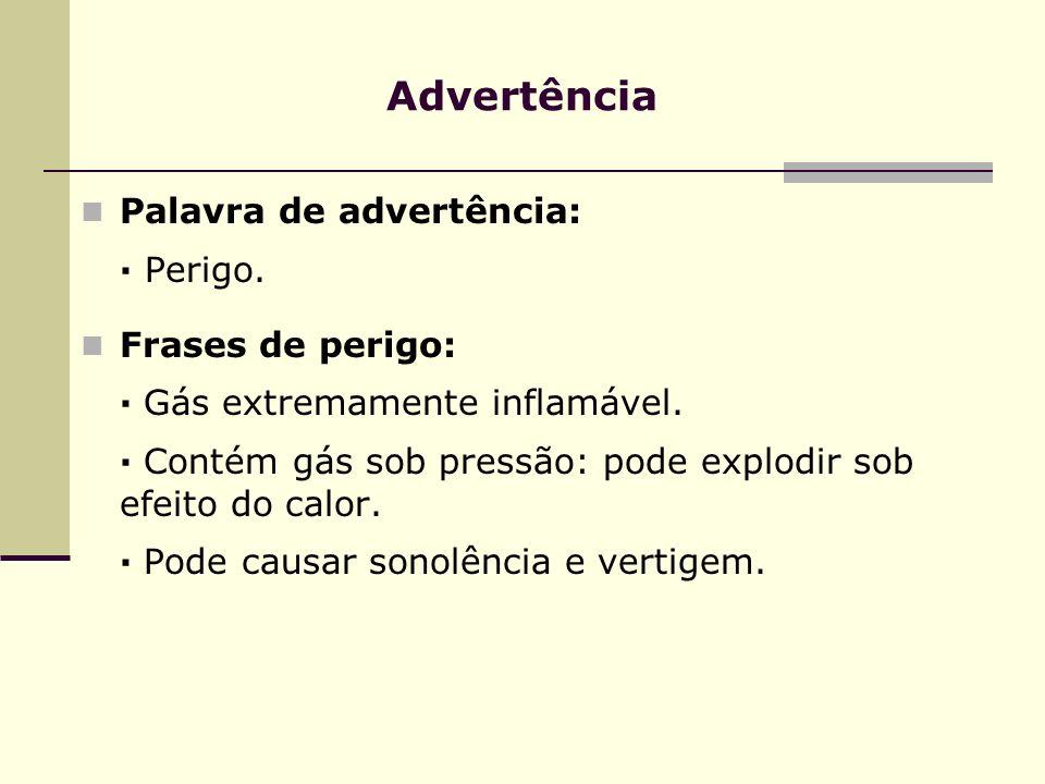Advertência Palavra de advertência: · Perigo. Frases de perigo: · Gás extremamente inflamável. · Contém gás sob pressão: pode explodir sob efeito do c