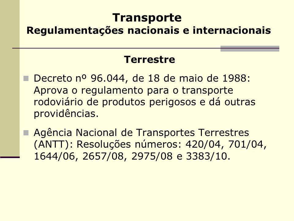 Transporte Regulamentações nacionais e internacionais Terrestre Decreto nº 96.044, de 18 de maio de 1988: Aprova o regulamento para o transporte rodov