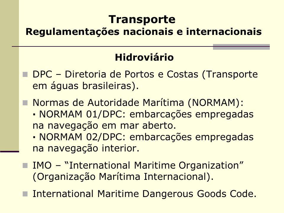Transporte Regulamentações nacionais e internacionais Hidroviário DPC – Diretoria de Portos e Costas (Transporte em águas brasileiras). Normas de Auto
