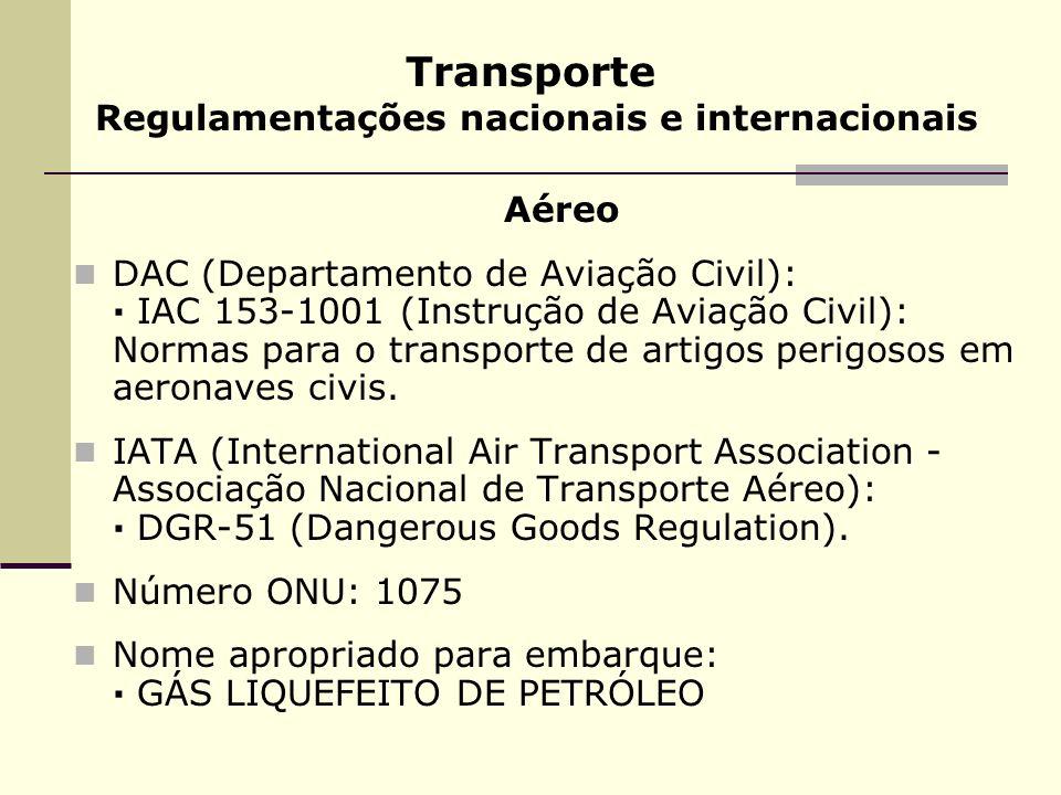 Transporte Regulamentações nacionais e internacionais Aéreo DAC (Departamento de Aviação Civil): · IAC 153-1001 (Instrução de Aviação Civil): Normas p