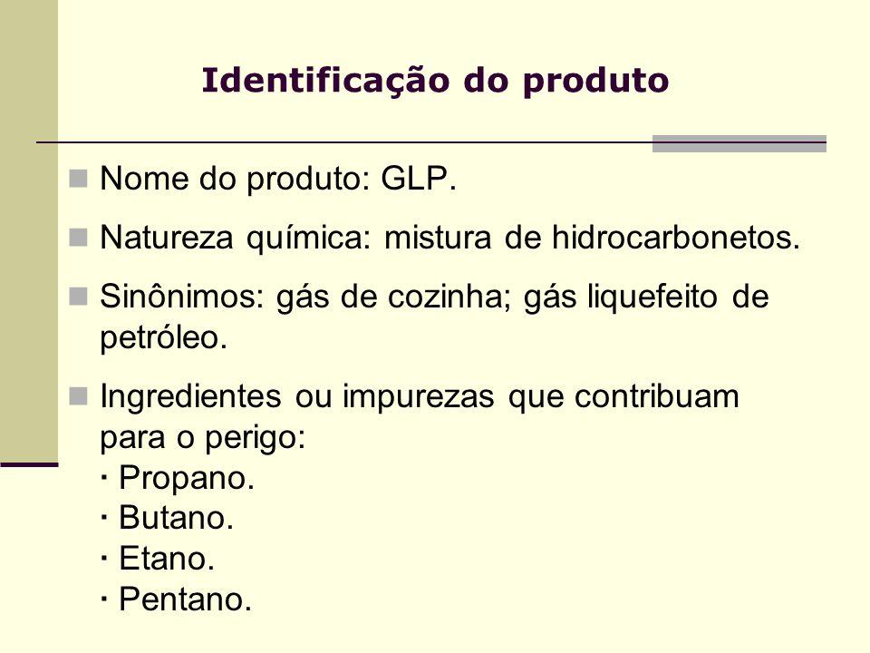 Identificação do produto Nome do produto: GLP. Natureza química: mistura de hidrocarbonetos. Sinônimos: gás de cozinha; gás liquefeito de petróleo. In
