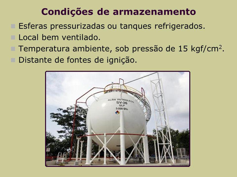 Condições de armazenamento Esferas pressurizadas ou tanques refrigerados. Local bem ventilado. Temperatura ambiente, sob pressão de 15 kgf/cm 2. Dista