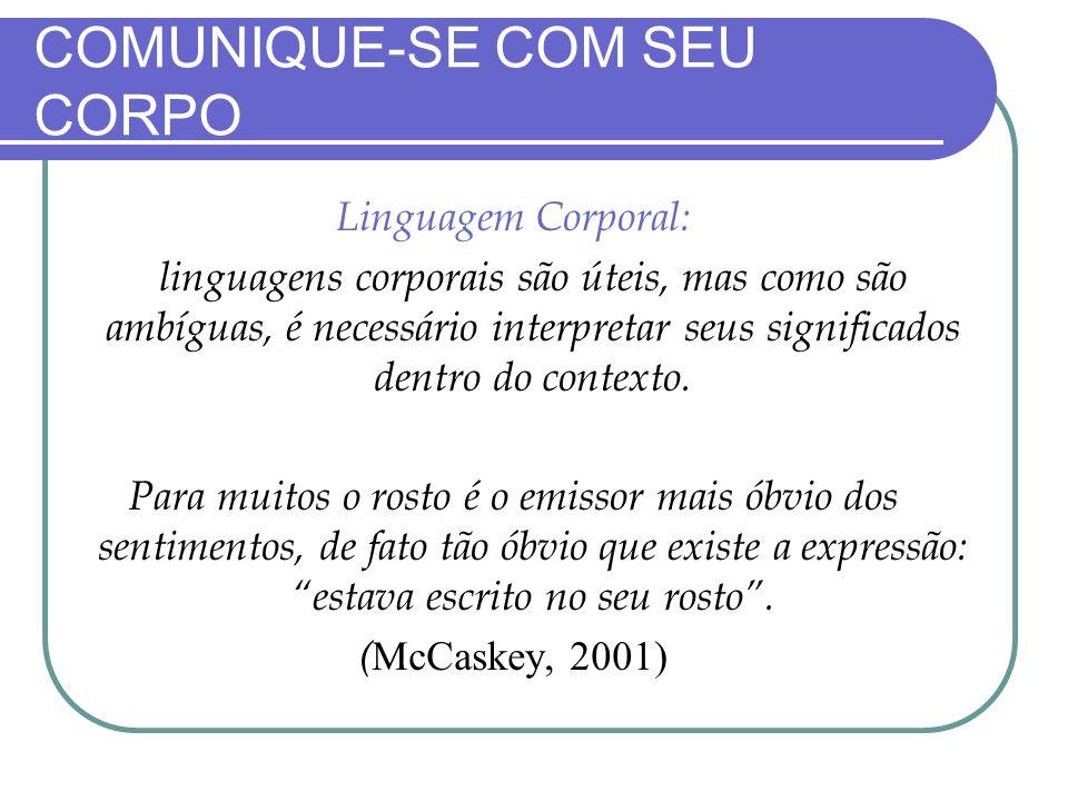 COMUNIQUE-SE COM SEU CORPO Linguagem Corporal: A linguagens corporais são úteis, mas como são ambíguas, é necessário interpretar seus significados den