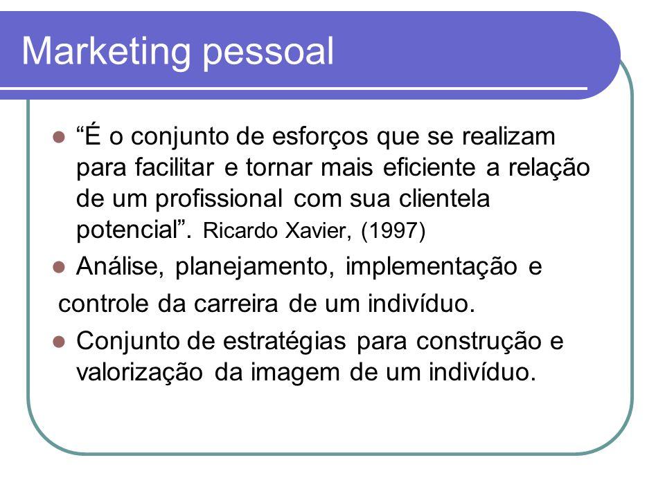 Marketing pessoal É o conjunto de esforços que se realizam para facilitar e tornar mais eficiente a relação de um profissional com sua clientela poten