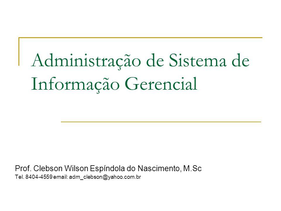 Administração de Sistema de Informação Gerencial Prof. Clebson Wilson Espíndola do Nascimento, M.Sc Tel. 8404-4559 email: adm_clebson@yahoo.com.br
