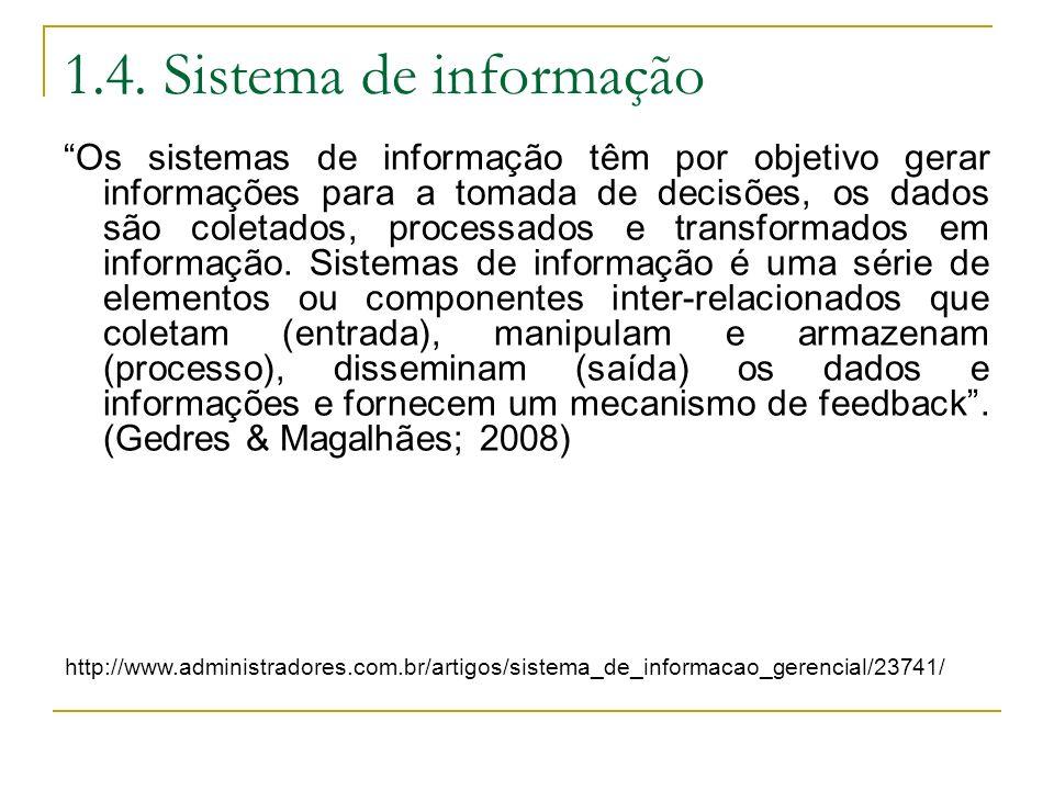 1.4. Sistema de informação Os sistemas de informação têm por objetivo gerar informações para a tomada de decisões, os dados são coletados, processados