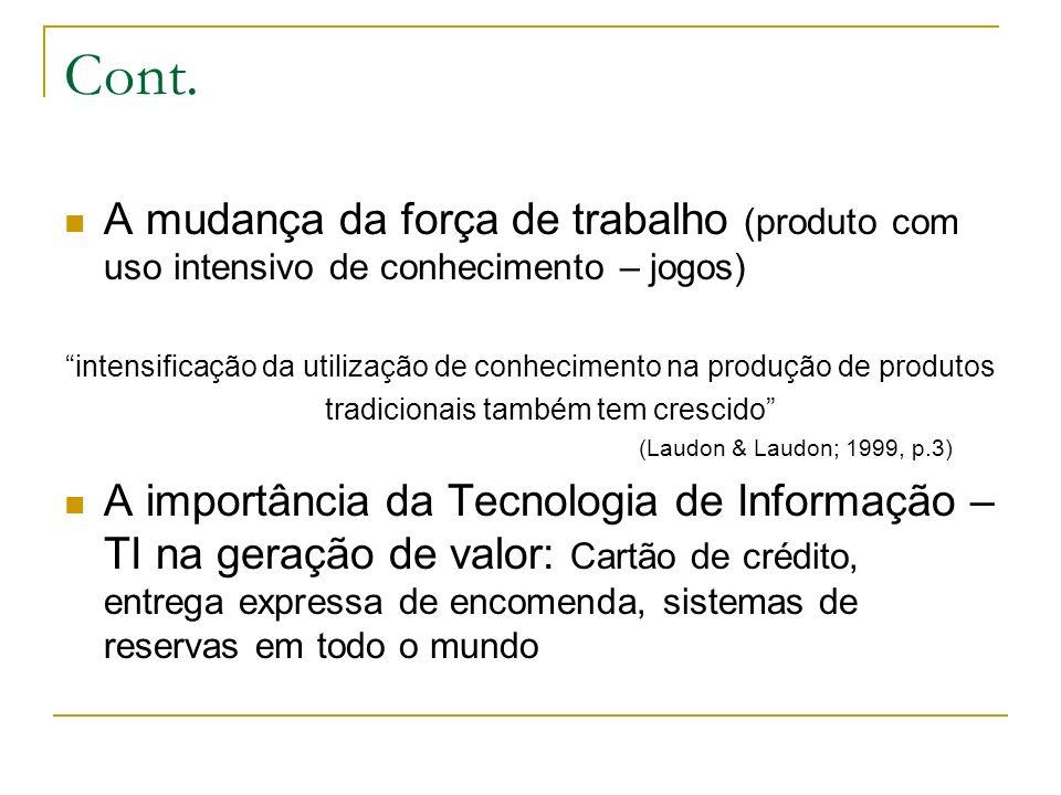 Cont. A mudança da força de trabalho (produto com uso intensivo de conhecimento – jogos) intensificação da utilização de conhecimento na produção de p