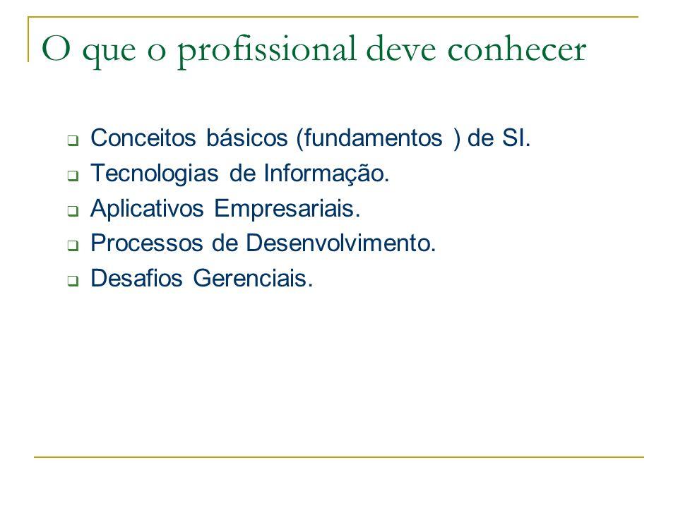 O que o profissional deve conhecer Conceitos básicos (fundamentos ) de SI. Tecnologias de Informação. Aplicativos Empresariais. Processos de Desenvolv