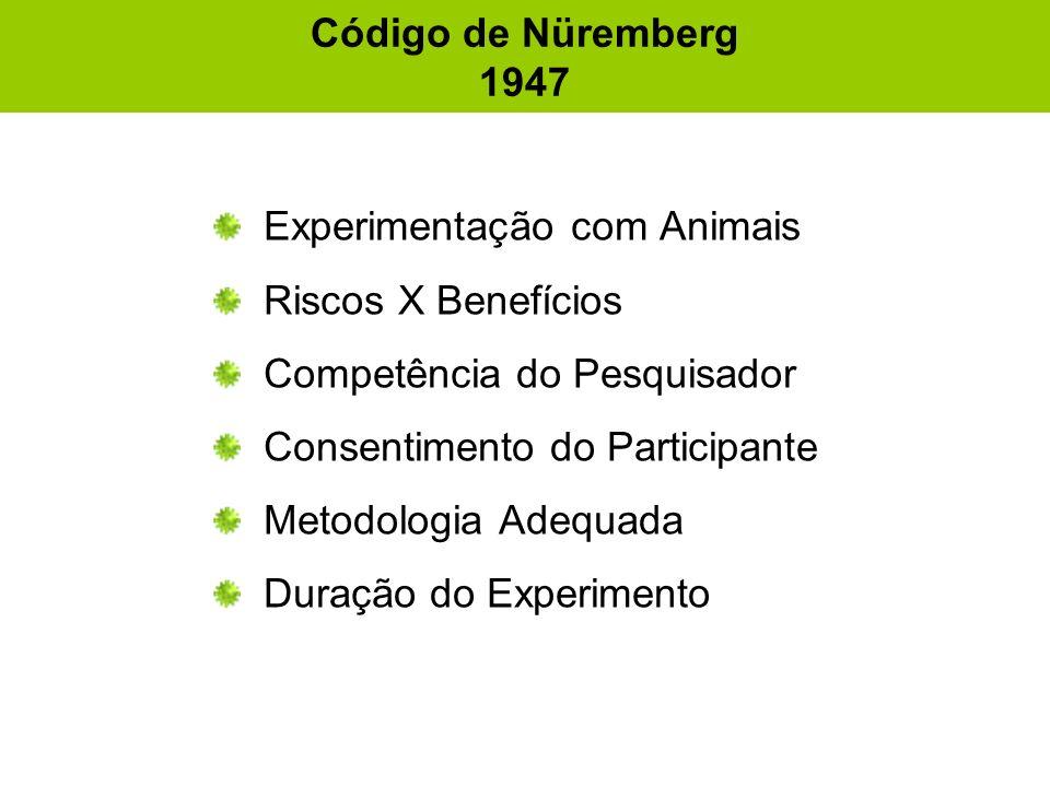 Código de Nüremberg 1947 Experimentação com Animais Riscos X Benefícios Competência do Pesquisador Consentimento do Participante Metodologia Adequada Duração do Experimento