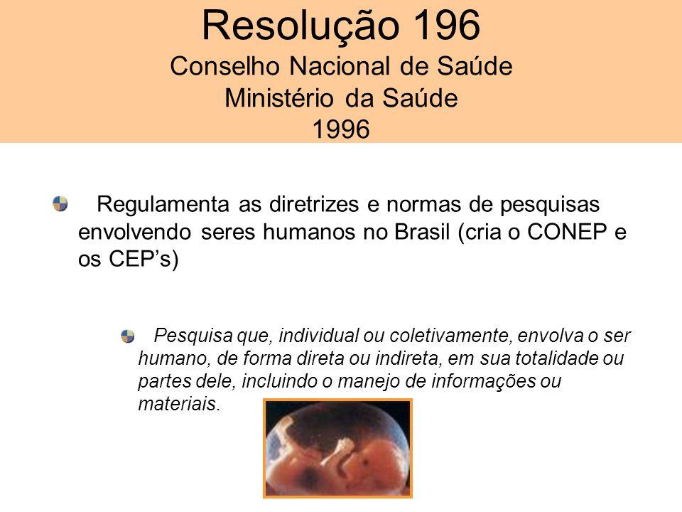 Resolução 196 Conselho Nacional de Saúde Ministério da Saúde 1996 Regulamenta as diretrizes e normas de pesquisas envolvendo seres humanos no Brasil (cria o CONEP e os CEPs) Pesquisa que, individual ou coletivamente, envolva o ser humano, de forma direta ou indireta, em sua totalidade ou partes dele, incluindo o manejo de informações ou materiais.