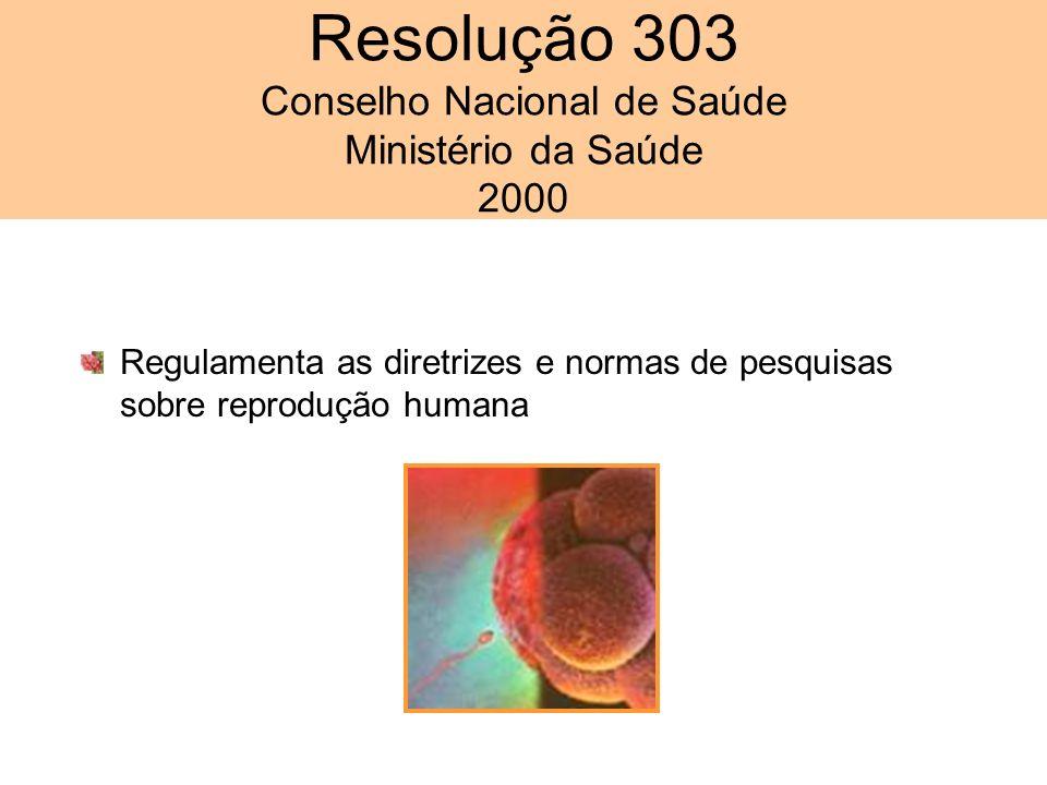 Regulamenta as diretrizes e normas de pesquisas sobre reprodução humana Resolução 303 Conselho Nacional de Saúde Ministério da Saúde 2000