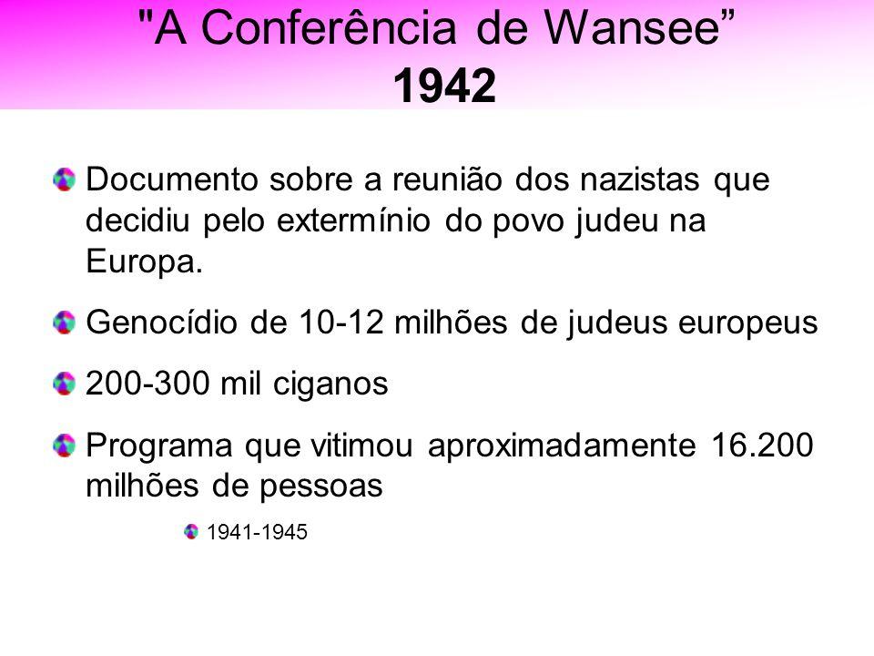 A Conferência de Wansee 1942 Documento sobre a reunião dos nazistas que decidiu pelo extermínio do povo judeu na Europa.