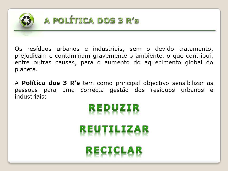 REDUZIR: A diminuição da quantidade de lixo é o passo primordial para resolver o problema da sua acumulação e melhorar a sua gestão.