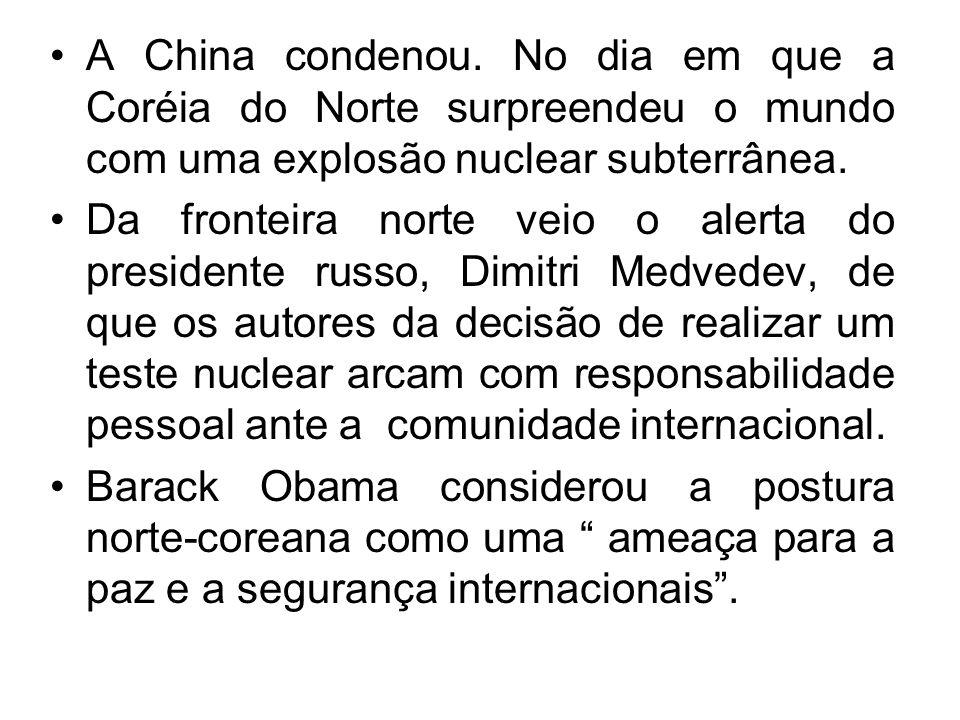 A China condenou.