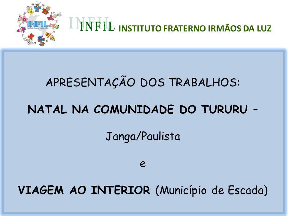 APRESENTAÇÃO DOS TRABALHOS: NATAL NA COMUNIDADE DO TURURU – Janga/Paulista e VIAGEM AO INTERIOR (Município de Escada) INSTITUTO FRATERNO IRMÃOS DA LUZ