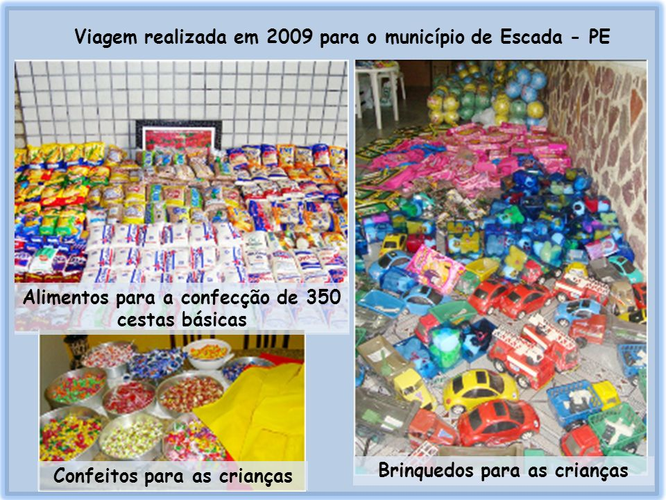 Viagem realizada em 2009 para o município de Escada - PE Confeitos para as crianças Alimentos para a confecção de 350 cestas básicas Brinquedos para a