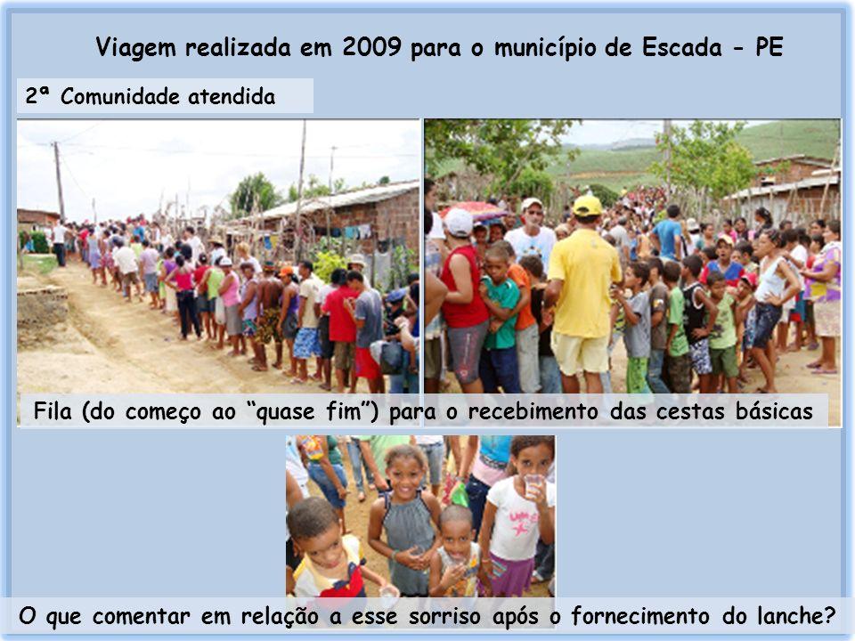 Viagem realizada em 2009 para o município de Escada - PE 2ª Comunidade atendida Fila (do começo ao quase fim) para o recebimento das cestas básicas O