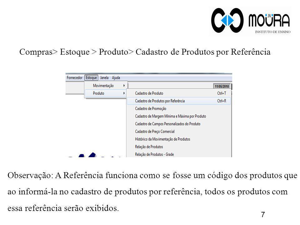 Compras> Estoque > Produto> Cadastro de Produtos por Referência Observação: A Referência funciona como se fosse um código dos produtos que ao informá-