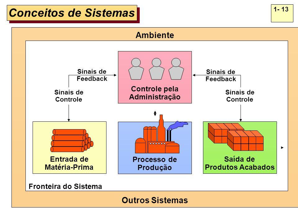 1- 13 Conceitos de Sistemas Processo de Produção Entrada de Matéria-Prima Saída de Produtos Acabados Ambiente Outros Sistemas Controle pela Administra