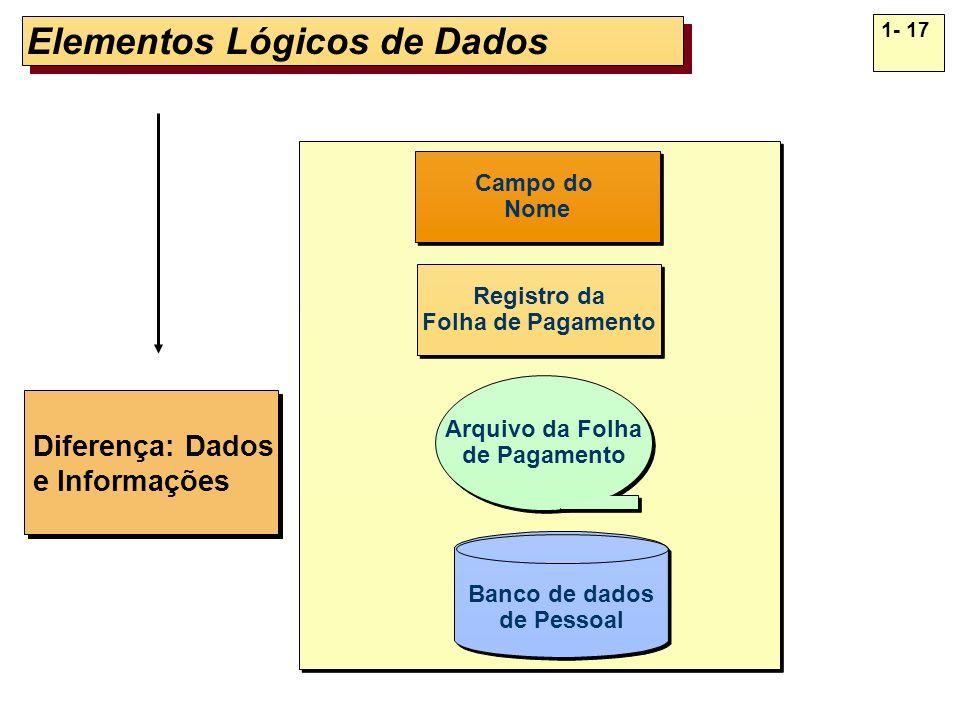 1- 17 Elementos Lógicos de Dados Diferença: Dados e Informações Diferença: Dados e Informações Campo do Nome Campo do Nome Registro da Folha de Pagame