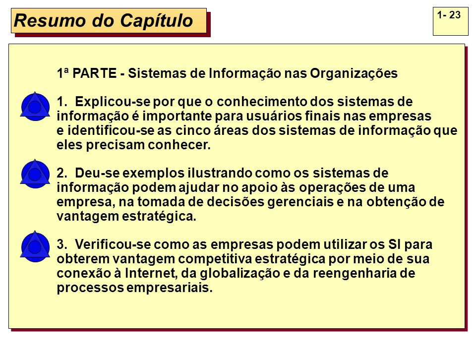 1- 23 Resumo do Capítulo 1ª PARTE - Sistemas de Informação nas Organizações 1. Explicou-se por que o conhecimento dos sistemas de informação é importa