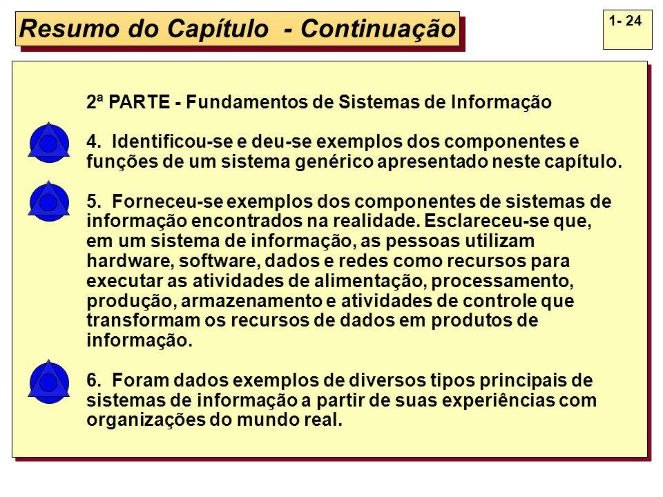 1- 24 Resumo do Capítulo - Continuação 2ª PARTE - Fundamentos de Sistemas de Informação 4. Identificou-se e deu-se exemplos dos componentes e funções
