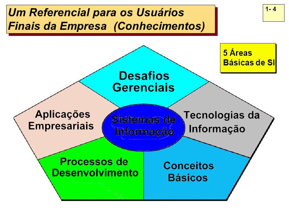 1- 4 Um Referencial para os Usuários Finais da Empresa (Conhecimentos) 5 Áreas Básicas de SI 5 Áreas Básicas de SI