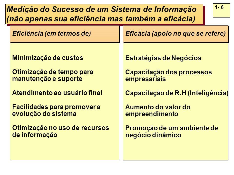 1- 6 Medição do Sucesso de um Sistema de Informação (não apenas sua eficiência mas também a eficácia) Minimização de custos Otimização de tempo para m