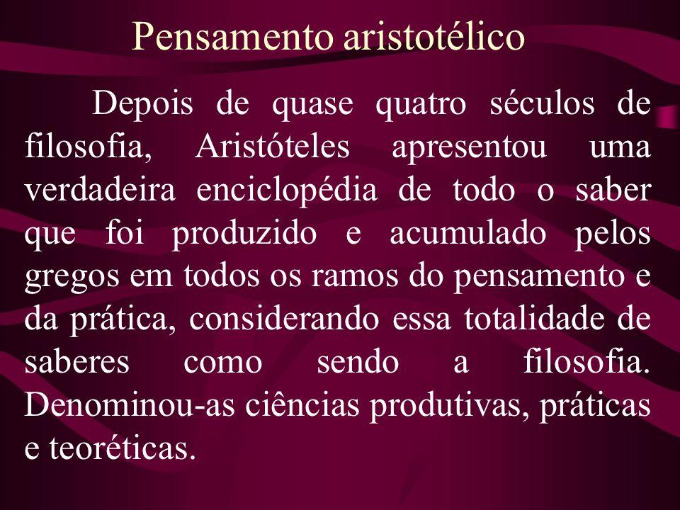 Pensamento aristotélico Depois de quase quatro séculos de filosofia, Aristóteles apresentou uma verdadeira enciclopédia de todo o saber que foi produz