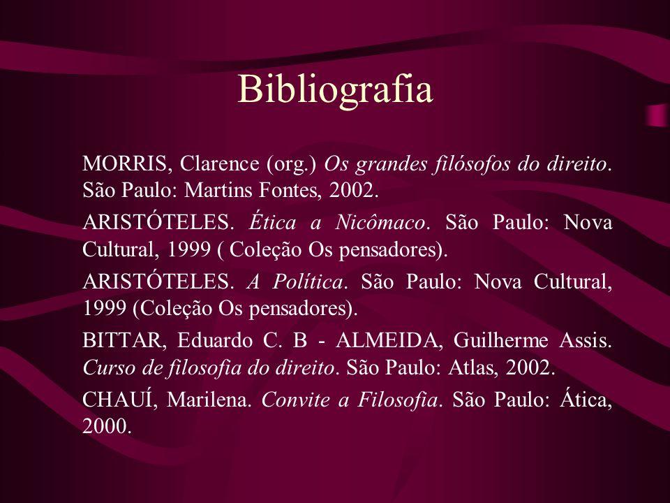 Bibliografia MORRIS, Clarence (org.) Os grandes filósofos do direito. São Paulo: Martins Fontes, 2002. ARISTÓTELES. Ética a Nicômaco. São Paulo: Nova