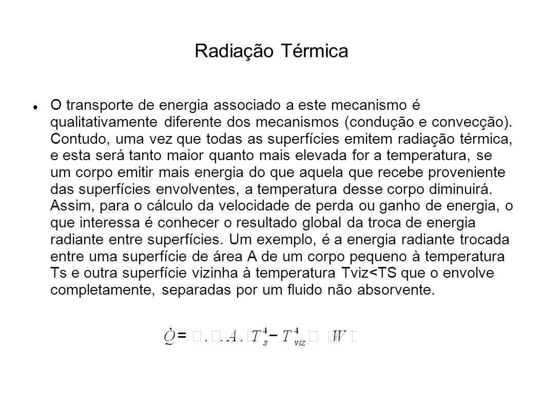 Radiação Térmica O transporte de energia associado a este mecanismo é qualitativamente diferente dos mecanismos (condução e convecção).