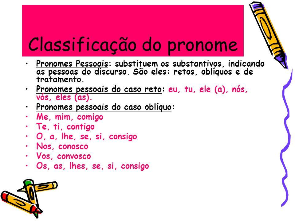 Classificação do pronome Pronomes Pessoais: substituem os substantivos, indicando as pessoas do discurso. São eles: retos, oblíquos e de tratamento. P