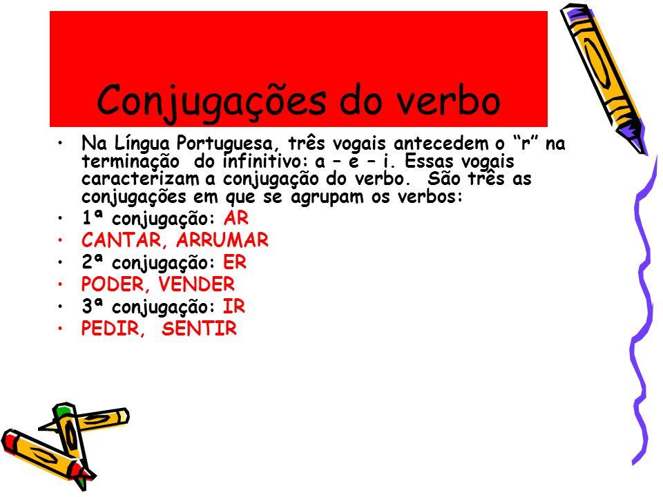 Conjugações do verbo Na Língua Portuguesa, três vogais antecedem o r na terminação do infinitivo: a – e – i. Essas vogais caracterizam a conjugação do