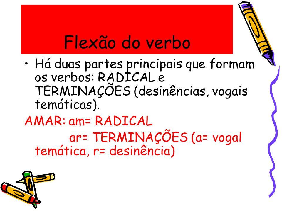 Flexão do verbo Há duas partes principais que formam os verbos: RADICAL e TERMINAÇÕES (desinências, vogais temáticas). AMAR: am= RADICAL ar= TERMINAÇÕ