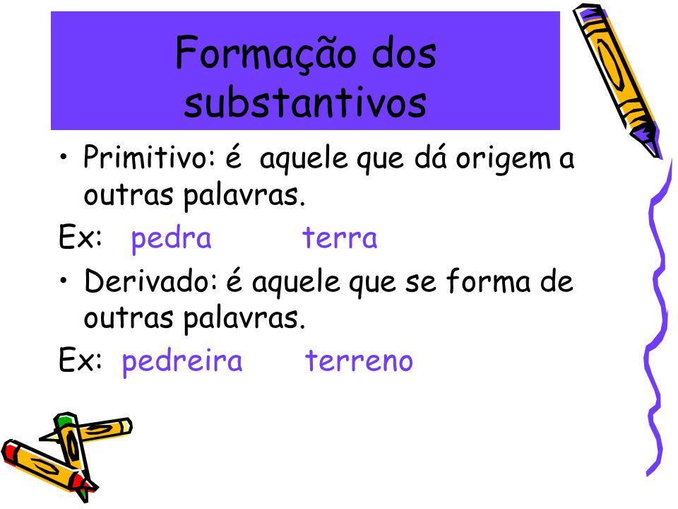 Formação dos substantivos Primitivo: é aquele que dá origem a outras palavras. Ex: pedra terra Derivado: é aquele que se forma de outras palavras. Ex:
