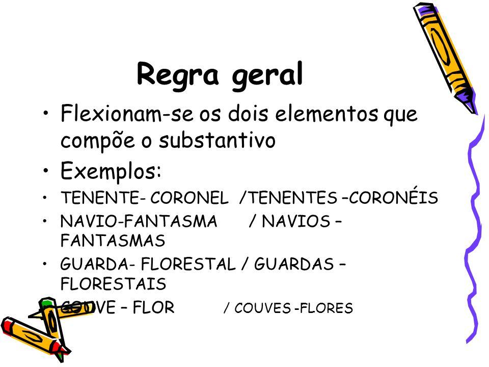 Regra geral Flexionam-se os dois elementos que compõe o substantivo Exemplos: TENENTE- CORONEL /TENENTES –CORONÉIS NAVIO-FANTASMA / NAVIOS – FANTASMAS