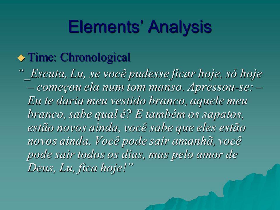 Elements Analysis Time: Chronological Time: Chronological _Escuta, Lu, se você pudesse ficar hoje, só hoje – começou ela num tom manso.
