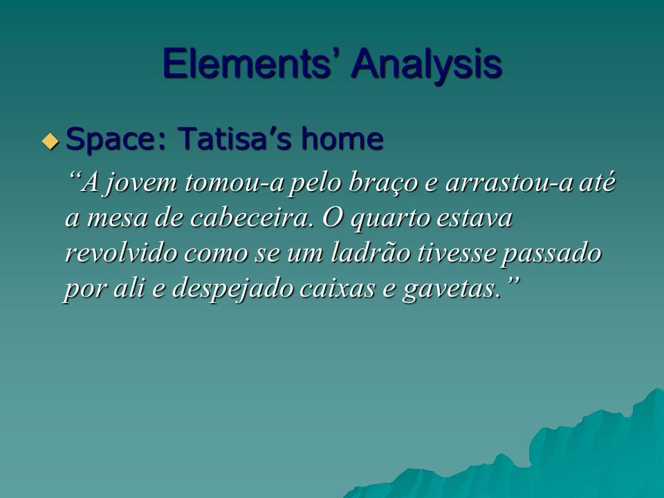 Elements Analysis Space: Tatisas home Space: Tatisas home A jovem tomou-a pelo braço e arrastou-a até a mesa de cabeceira.